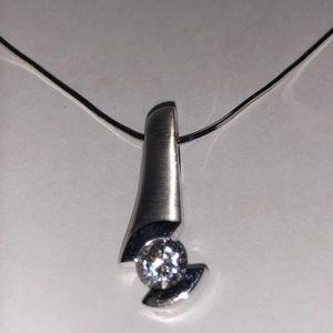 """14Kt White Gold Necklace 16"""" & CZ Pendant"""